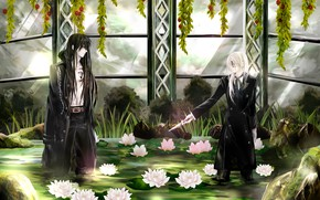 Picture flowers, guys, water lilies, D.Gray-man