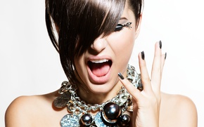 Wallpaper during, woman, gestures, make-up, Hairstyle