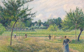 Picture landscape, Camille Pissarro, Time Of Haymaking, picture
