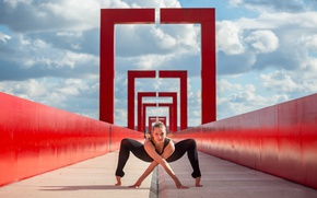 Picture the sky, look, girl, clouds, bridge, stretching