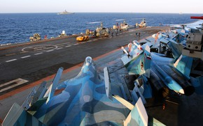 Wallpaper Heavy, cruiser, Admiral Kuznetsov, sea, Su-33, fighter, Ka-29, aircraft carrier