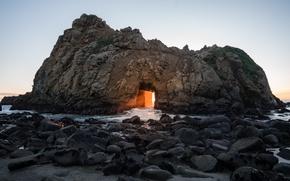 Picture sea, beach, sunset, rock, the ocean, dawn, CA, arch, USA, USA, America, United States, California, …