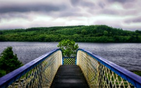 Picture water, mountains, bridge, lake, perspective, dal, hdr, widescreen, ultra hd, 4k