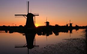 Picture sunset, silhouette, channel, Netherlands, windmill, Kinderdijk