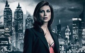Picture girl, night, the city, lights, background, fiction, the moon, Morena Baccarin, makeup, brunette, hairstyle, the …