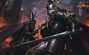 Picture sword, Age of Reckoning, armor, dark elf, knight, Warhammer online, helm