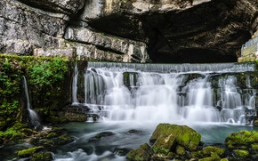 Picture rock, stones, France, waterfall, moss, Saut du Doubs