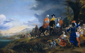 Picture oil, picture, canvas, Jan Baptist Venix, Ambassador of the Dutch Fleet on the Way to …