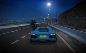 Picture lamborghini, road, blue, aventador