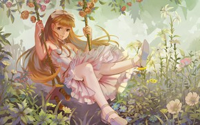 Picture flowers, swing, anime, art, girl