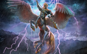 Picture Pegasuscentaur, mountains, lightning, Art Edit, Phasecenter