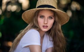 Picture girl, green eyes, long hair, hat, photo, photographer, model, bokeh, lips, face, blonde, t-shirt, portrait, …