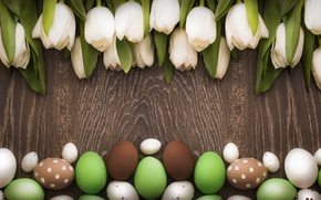 Picture decoration, wood, white tulips, Easter, Easter, white, tulips, tulips, tender, Happy, spring, eggs