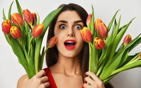 Picture girl, flowers, face, background, surprise, makeup, hairstyle, tulips, brown hair, in red, bouquets