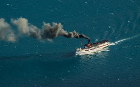 Picture smoke, New Zealand, steam, water, Queenstown, ship, Lake Wakatipu, steamship, South Island, coal, 1912, Edwardian, …
