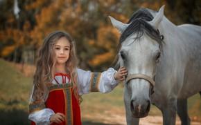 Picture mood, horse, horse, girl, long hair, sundress