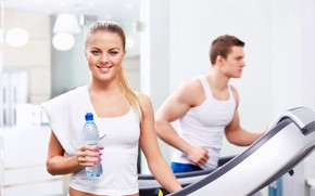 Picture girl, towel, gym, Fitness, water bottle, treadmill, treadmill workout, girl smiling