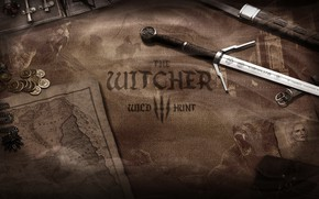 Picture weapons, money, sword, coins, world map, the Witcher, Witcher, The Witcher 3 Wild Hunt, Witcher …