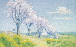 Picture landscape, picture, spring, Achille Lauge, Achilles Box, Almond Trees in blossom near Cayo