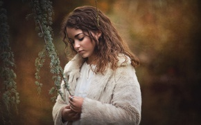 Picture girl, branches, background, mood, texture, coat
