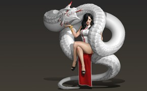 Picture girl, dragon, art, fantasy, Hwan (煥), The Red Horn