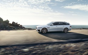 Picture road, white, the sky, clouds, movement, Jaguar, universal, XF Sportbrake 25d AWD