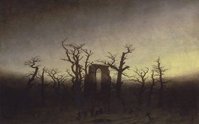 Picture trees, picture, ruins, Caspar David Friedrich, Abbey among Oak trees