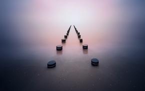 Picture sea, water, nature, fog, lake, minimalism, haze