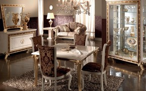 Wallpaper design, furniture, luxury, chandelier, dining room