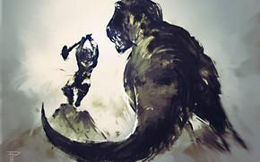 Picture dinosaur, warrior, battle