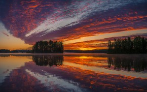 Picture the sky, sunset, nature, lake
