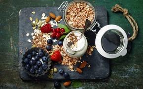 Picture berries, Breakfast, blueberries, strawberry, nuts, muesli, yogurt, red currant