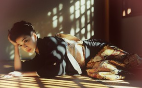 Picture look, pose, Japanese, kimono, Asian, on the floor