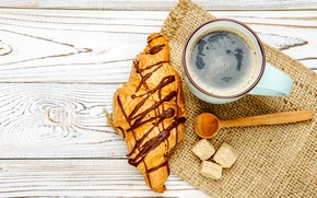 Picture coffee, spoon, Cup, sugar, cakes, coffee, growing, croissant