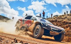 Picture Sand, 2008, Sport, Speed, People, Race, Peugeot, Lights, Red Bull, Rally, Dakar, Dakar, Rally, Sport, …