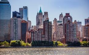 Picture Sea, New York, Building, City, USA, USA, Manhattan, New York, Manhattan, Sea, Buildings
