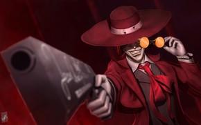 Picture gun, hat, anime, art, glasses, vampire, Hellsing, Alucard