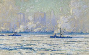 Wallpaper Winter View of new York from the Hudson, picture, Eliot Kandy Clark, landscape, Eliot Candee ...