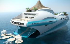 Wallpaper the project, superyacht, Futuristic, the yacht-island, gesign, Yacht island, tip 1