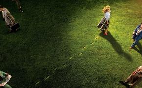 Picture grass, look, light, traces, people, lawn, skirt, actress, hairstyle, shoes, blouse, Natalie Portman, Natalie Portman, …