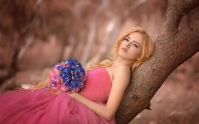 Picture girl, flowers, tree, bouquet, dress, blonde, neckline, trunk