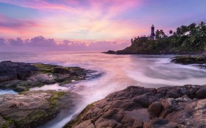 Picture sea, clouds, palm trees, rocks, lighthouse, India, Kovalam