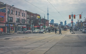 Picture Toronto, Canada, Canada, tower, traffic lights, street, Toronto, people, home, CN Tower, The CN Tower