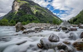 Picture mountains, river, stones, stream, Switzerland