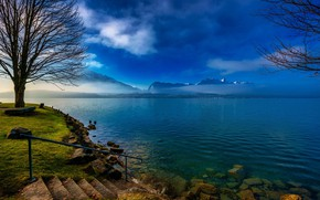 Wallpaper clouds, grass, the sky, steps, lake, shore, trees, fog, mountains, ladder, stones, Switzerland, Thun