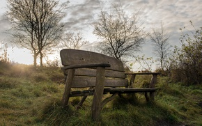 Picture memory, morning, bench