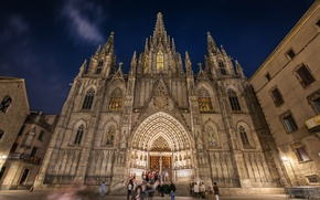 Picture hdr, Spain, Barcelona, The Cathedral of the Holy cross and Saint Eulalia