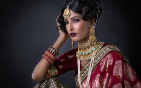 Picture girl, decoration, makeup, the bride, saree, wedding dress