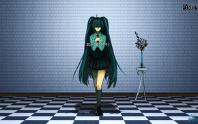 Picture wall, bouquet, characters, vase, knee, blue eyes, vocaloid, Hatsune Miku, long hair, chess floor