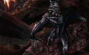 Picture anger, sword, head, armor, monsters, Berserker